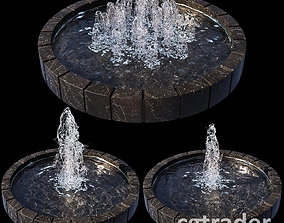 3 large water Fountains 3D model