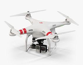 DJI Phantom 2 Quadcopter with GoPro HERO4 3D model
