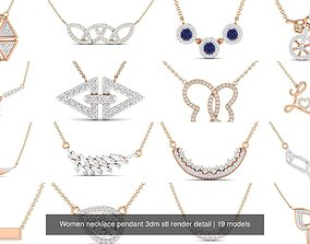 Women necklace pendant 3dm stl render detail diamond