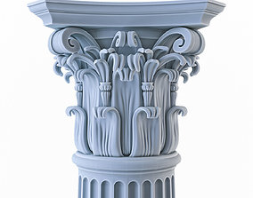 3D model Column with flutes and chapiter of the Corinthian