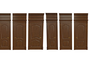 3D model Classic wooden door 06