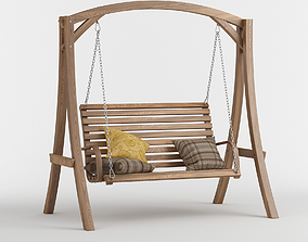 3D model MARLETTE outdoor wood swinging bench and base