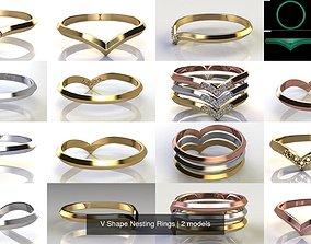 jewelry V Shape Nesting Rings 3D
