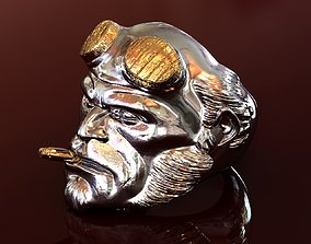 3D print model HellBoy Ring Silver and Gold