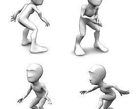Abstract sneaking character set 3D asset