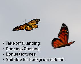 3D asset realtime Background Butterflies Animated