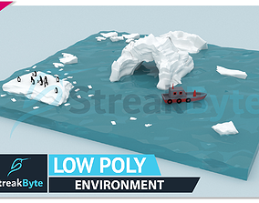 3D model Low Poly glacier Environment