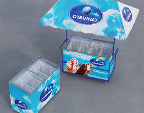 Ice boxes and tent 3D