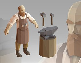 Blacksmith Low Poly 3D model