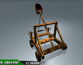 animated Medieval Animated Catapult Low-poly 3D model