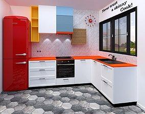3D asset kitchen modern retro chic style