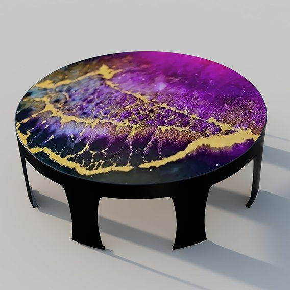 Round Table with epoxy resin top
