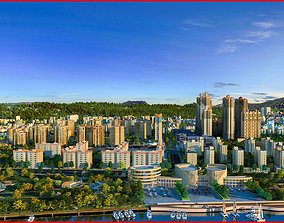 3D model Modern City Animated 09 3