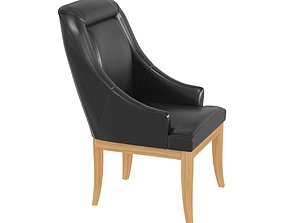 3D model Custom made chair in black leather