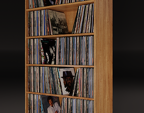 Vinyl Storage - Five Shelf PBR 3D model