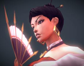 Low Poly Fan-blade Geisha 3D asset