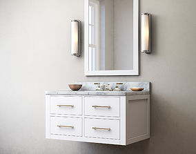3D Hutton single floating vanity white