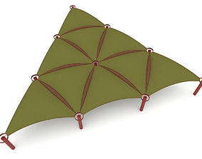 3D asset Triangulated tent structure tetrahedral design 2