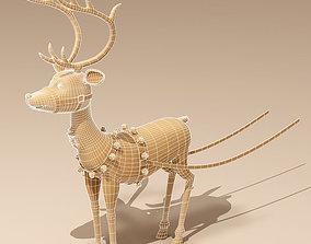 3D model Toon Santa in Sleigh with Reindeer