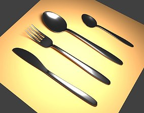 3D model low-poly Cutlery