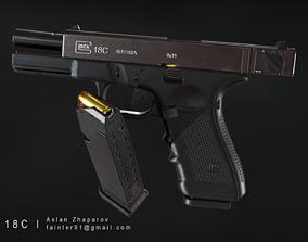 Glock 18C Pistol PBR Lowpoly Gameready Asset realtime
