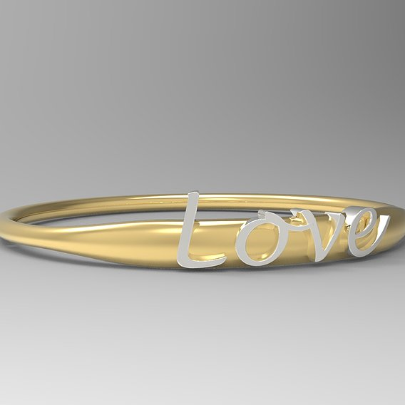 Love Ring with Silver Polished Ring and 24k Gold Polished Text.