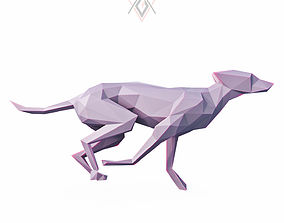 3D model Dog Run Pose Low Poly