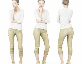 Thinking Pose in Green Pants and White 3D asset