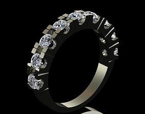 Luxury Half Round Diamond Ring 3D print model