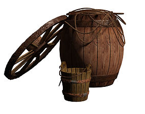 A barrel with a rope and wheel and bucket 3D asset
