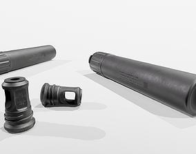 AAC Titan-QD Fast-Attach 338LM Silencer and 3D model 1