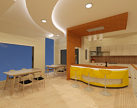 3D interior of pantry of kitchen set