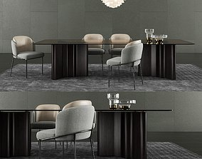 3D model Minotti Lou Dining Table and Fil Noir Dining