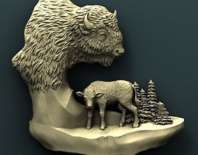 carved Bison 3d stl model for cnc