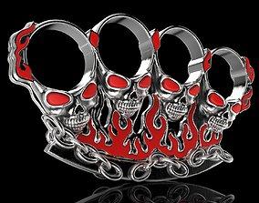 Jewelry 3D Badass Gothic Skull Ring Pair Design Model