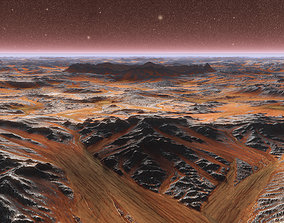 Mars Plate with crater in center realistic 3d animated 1