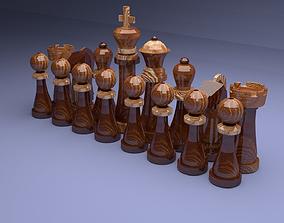 Chess set 3D asset game-ready