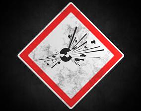 3D asset Explosive warning sign