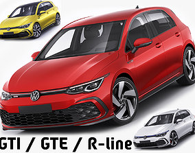 3D model Volkswagen Golf 2020 GTI GTE R-line