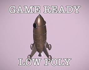 3D asset Space Sci-fi Rocket low poly game ready