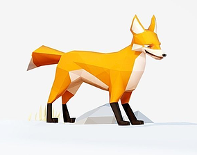 3D asset animated Fox low poly