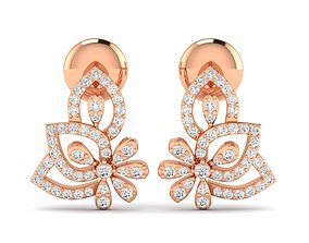 Women earrings 3dm stl render detail gold