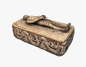 3D asset Stone medieval sarcophagus