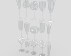 3D model Cocktail Glass Pack