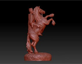 3D printable model horse rider man statue