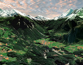 Mountain landscape Liechtenstein 3D model
