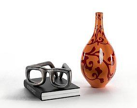 3D model Composition Glasses Book and Vase
