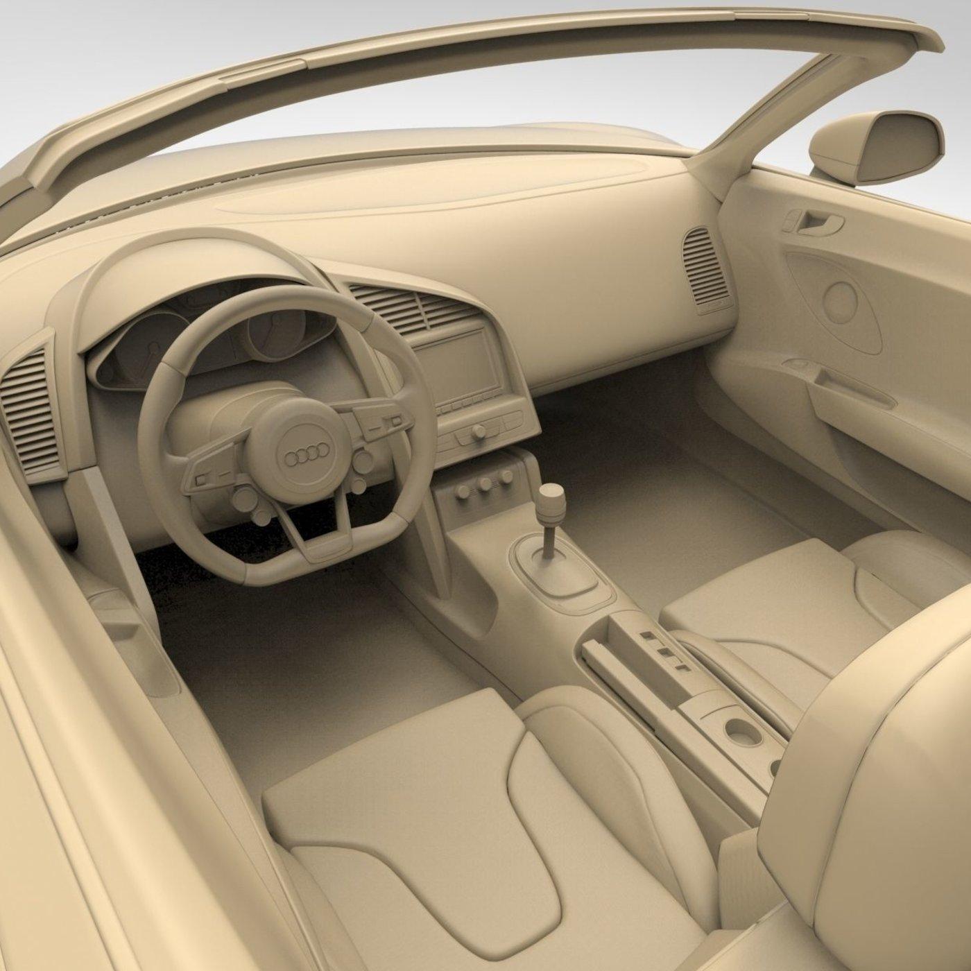 Audi R8 Spyder Clay Render