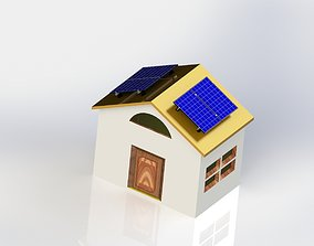 3D print model solar cells - rural house with solar cells