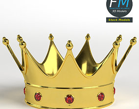 3D Gold crown with gems 2